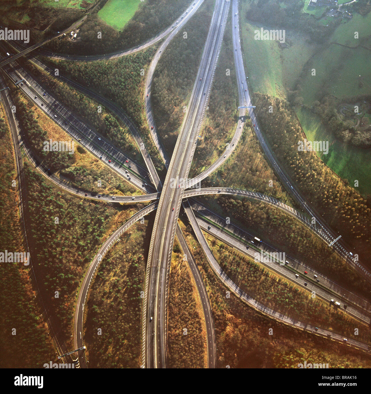 Aerial image of M25 and M23 Motorway Junction, Surrey, England, United Kingdom, Europe - Stock Image