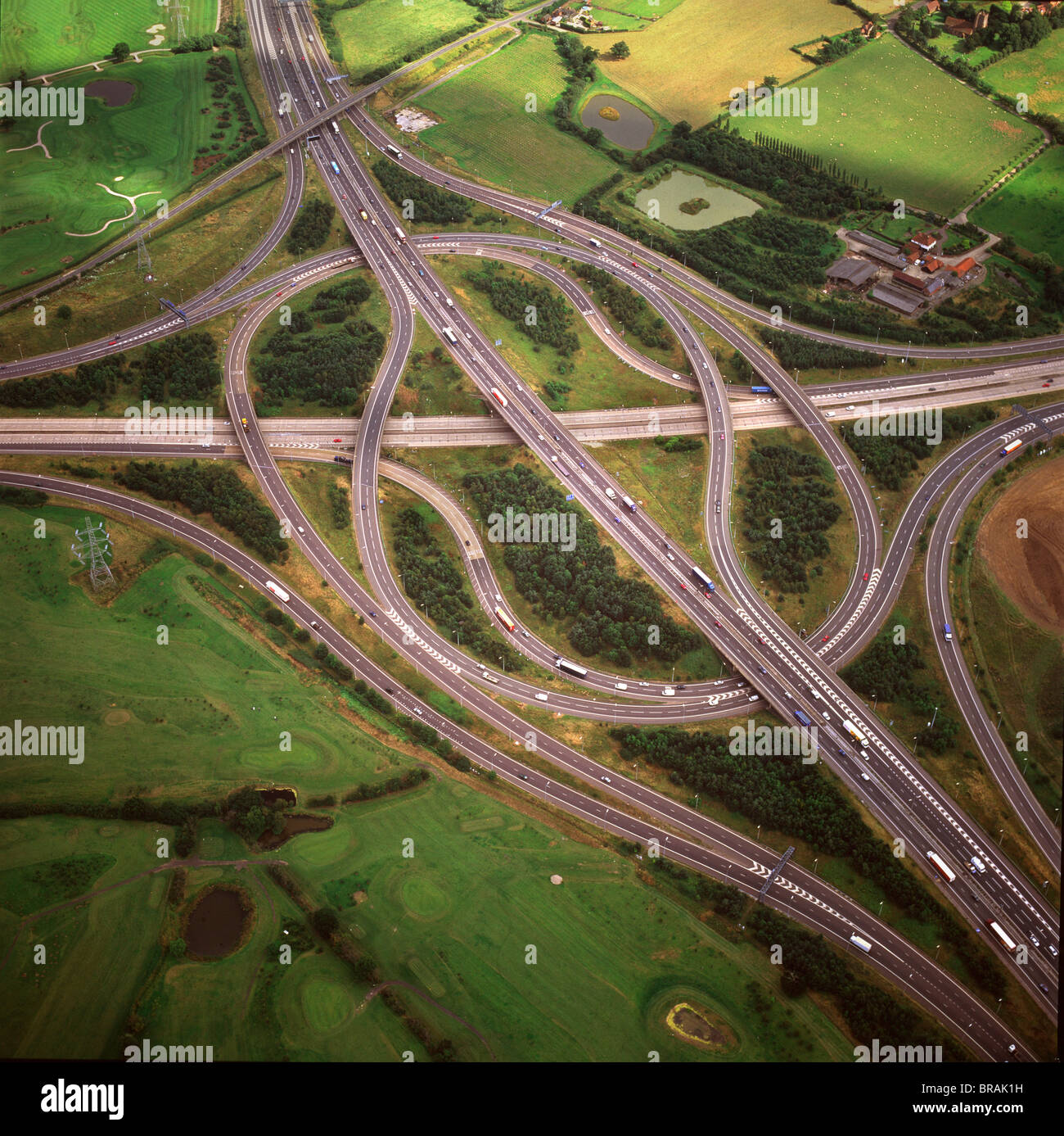 Aerial image of M25 and M11 Motorway Junction, Essex, England, United Kingdom, Europe - Stock Image