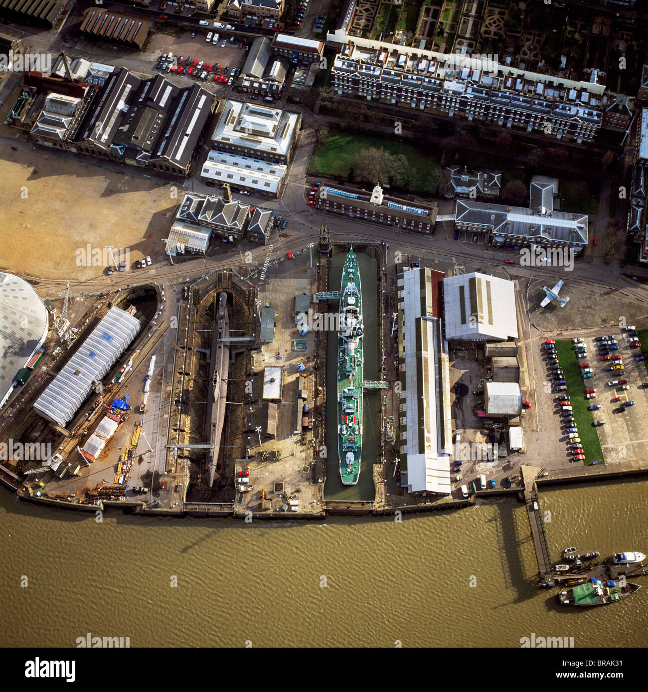 Aerial image of Chatham Historic Dockyard, a maritime museum, Chatham, Kent, England, United Kingdom, Europe - Stock Image