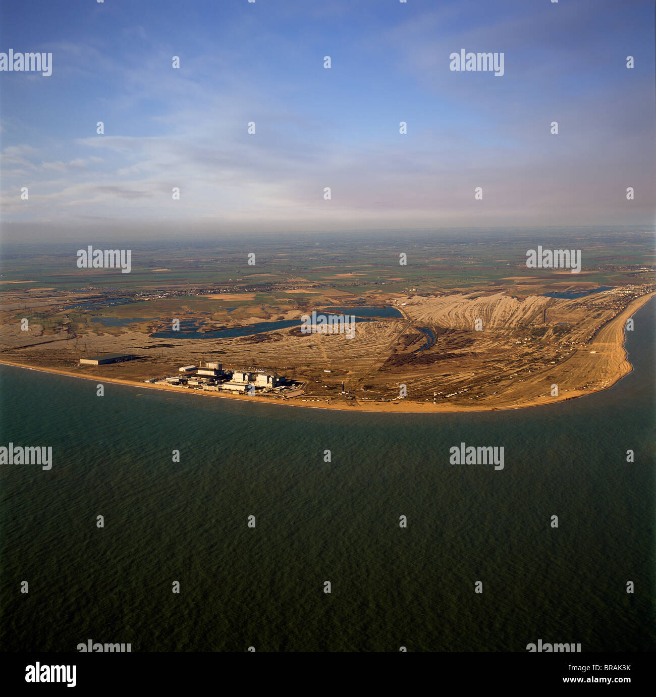 Aerial image of Dungeness Nuclear Power Station, Dungeness headland, Kent, England, United Kingdom, Europe - Stock Image