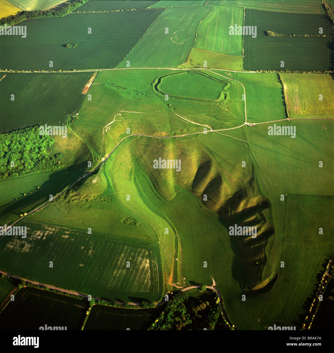 Aerial Image Of The Uffington White Horse With Uffington Castle Hill Stock Photo Alamy