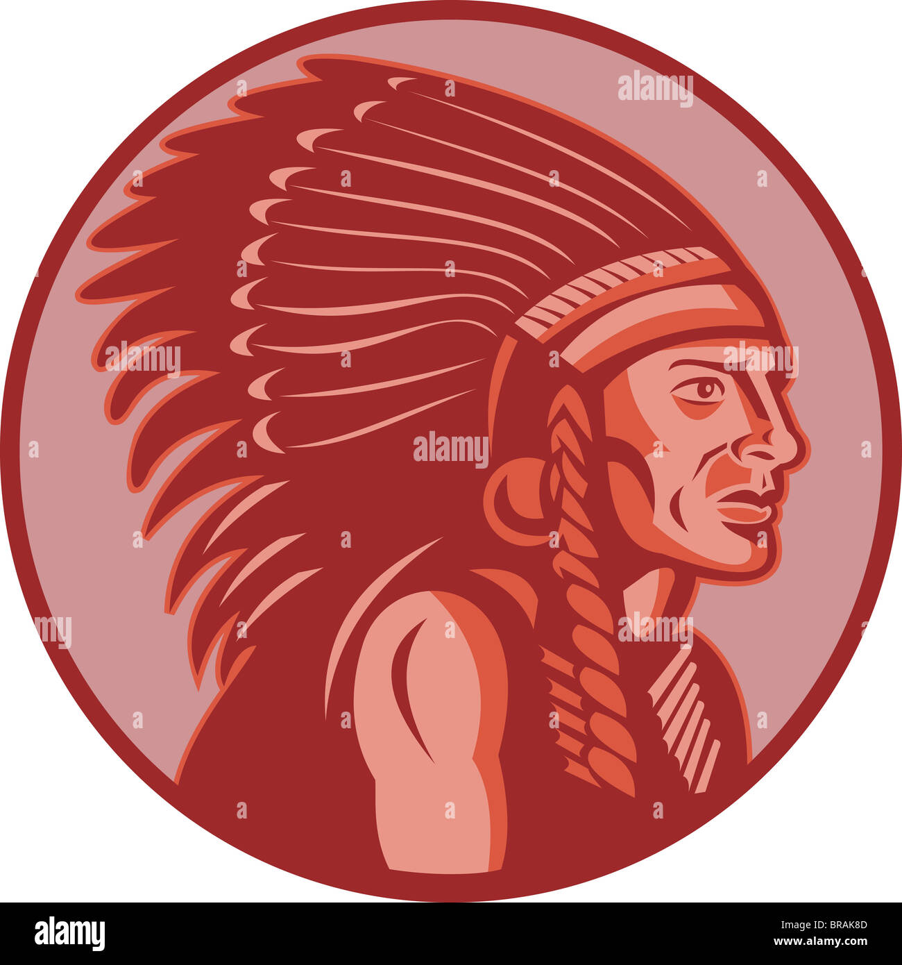 illustration of a native american indian chief side view done in retro style - Stock Image