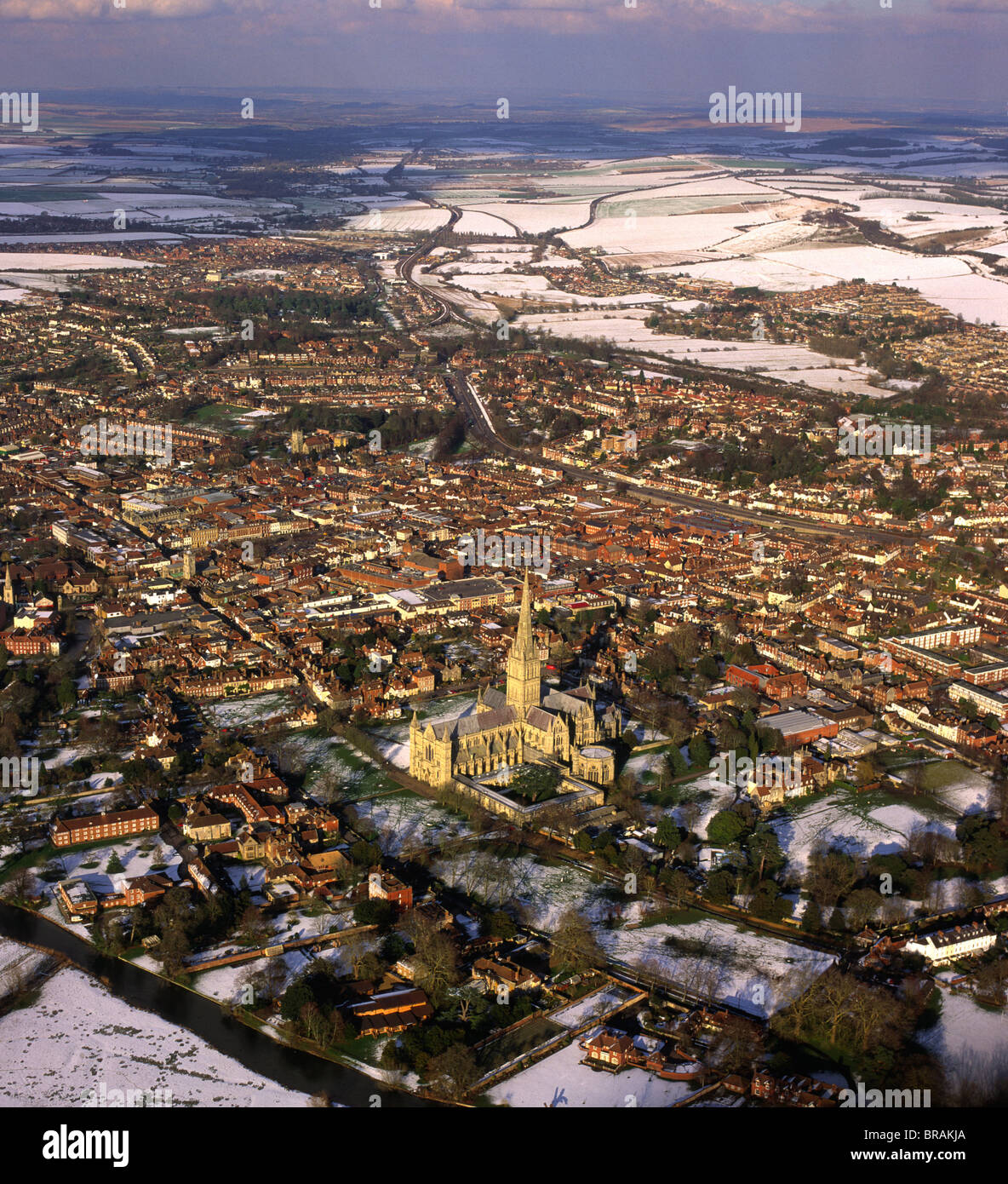 Aerial image of Salisbury Cathedral and city in snow, Salisbury, Wiltshire, England, United Kingdom, Europe Stock Photo