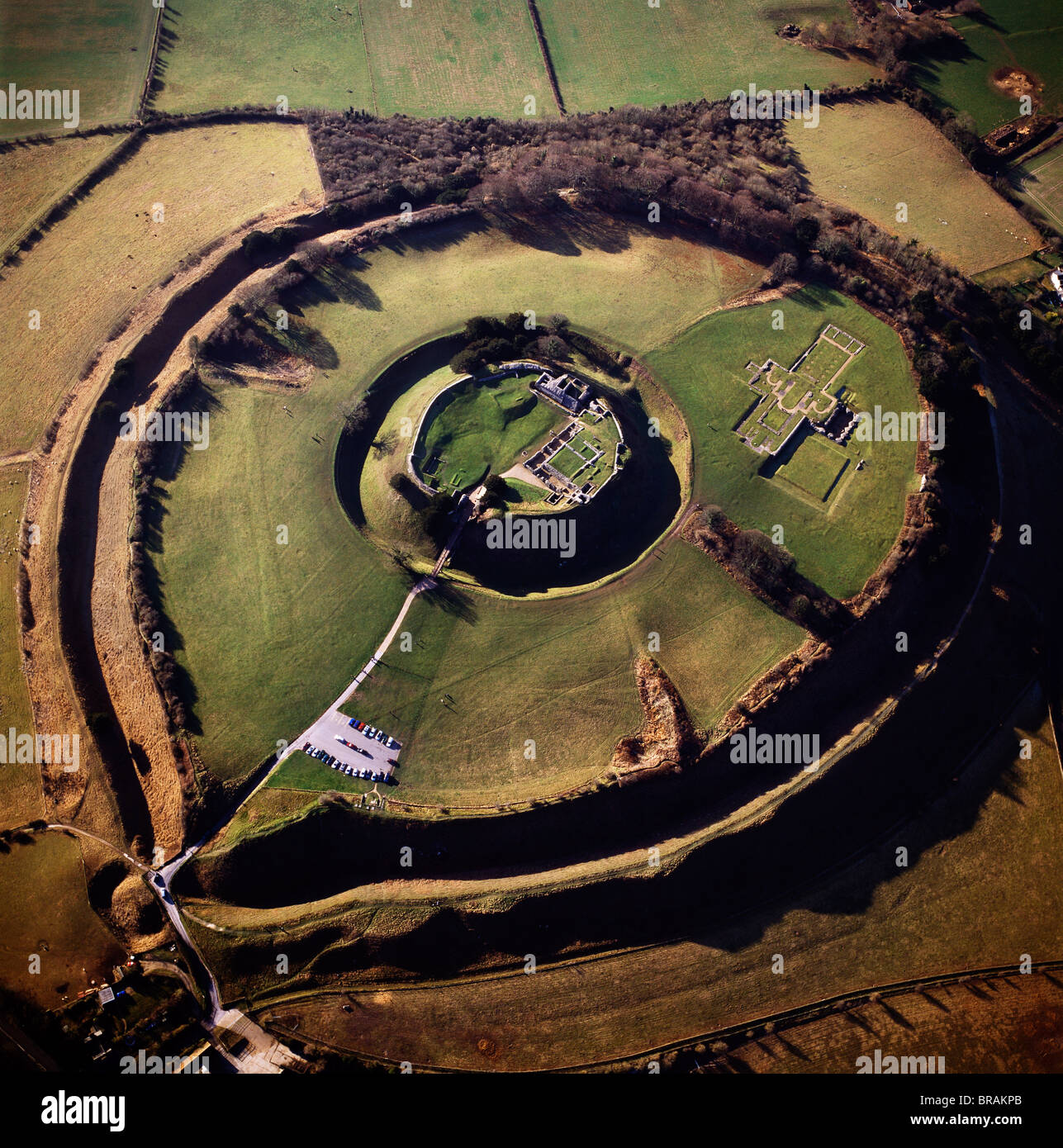 Aerial image of Old Sarum, Wiltshire, UK Stock Photo