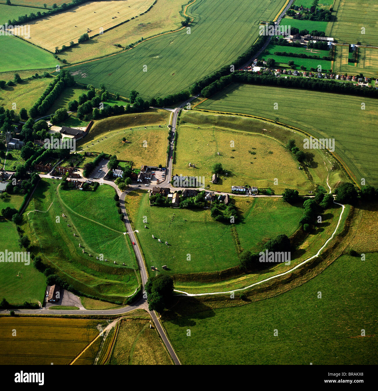 Aerial image of Avebury, Neolithic Monument, site of a large henge and several stone circles, UNESCO, Wiltshire, - Stock Image