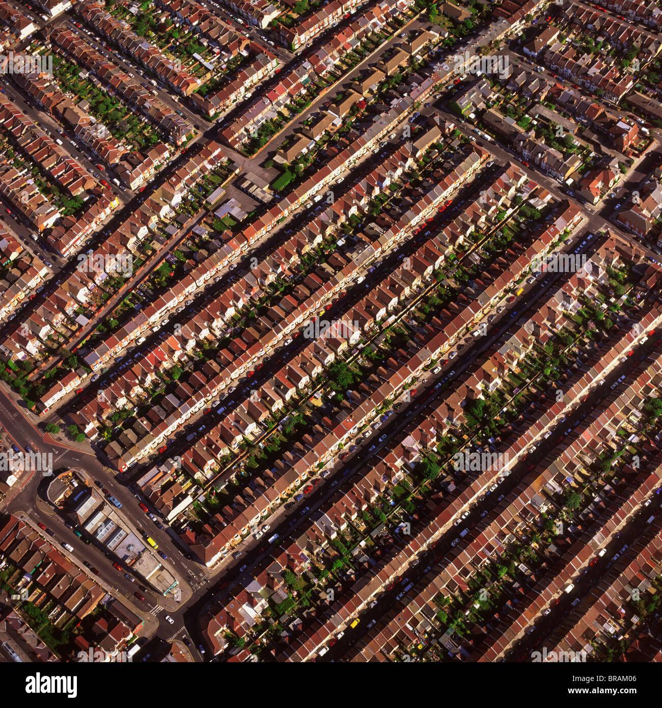 Aerial image of terraced housing, Portsmouth, Hampshire, England, United Kingdom, Europe - Stock Image