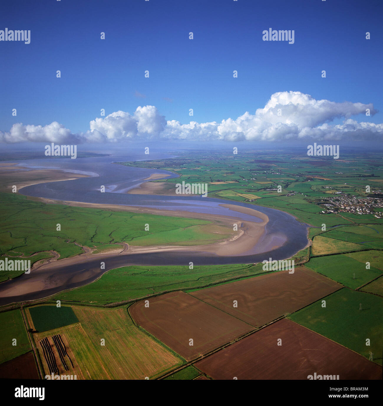 Aerial image of the River Esk flowing into Solway Firth, Scotland, UK - Stock Image