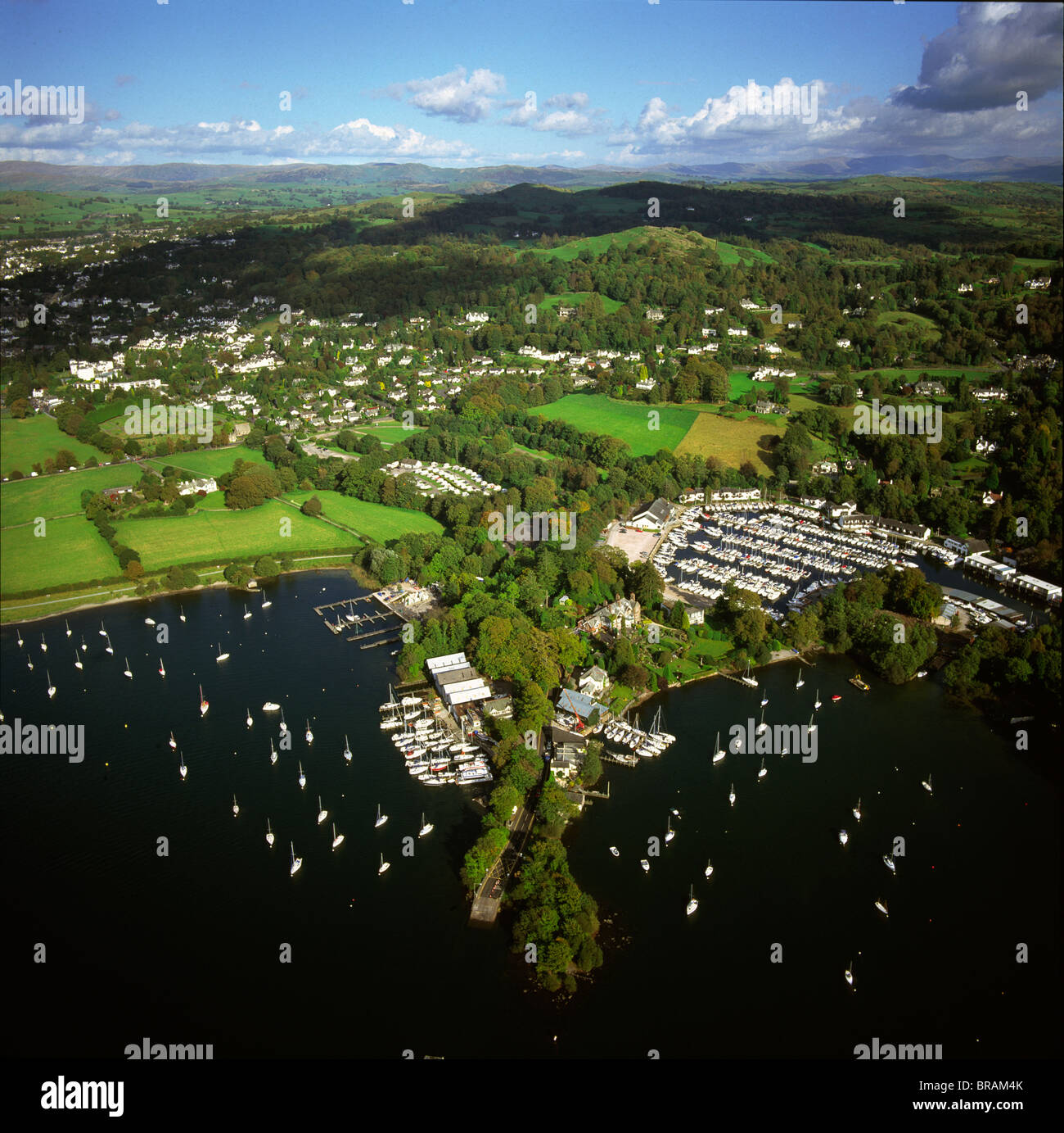 Aerial image of Bowness-on-Windermere, Lake Windermere, Lake District National Park, Cumbria, England, United Kingdom, - Stock Image