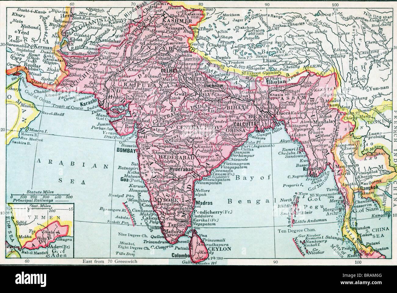 The Indian Empire and Ceylon circa 1930. Inset shows Aden. - Stock Image