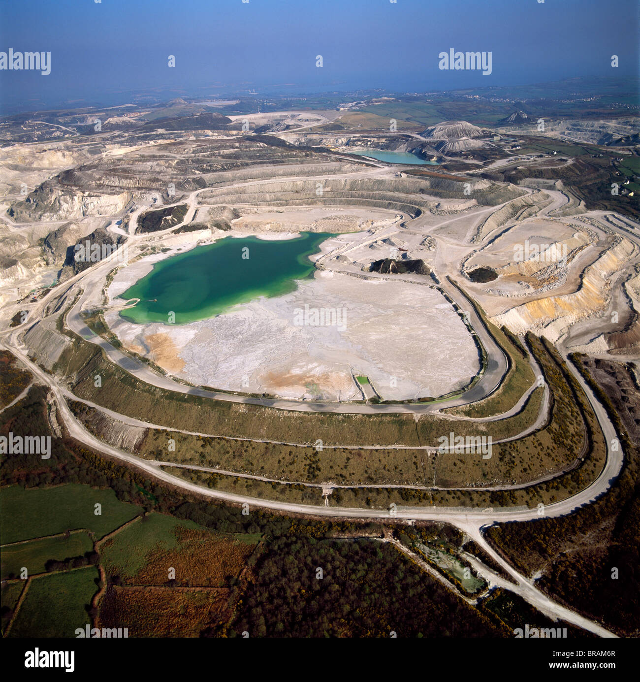 Aerial image of China Clay (Kaolin) Quarries, St. Austell, Cornwall, England, United Kingdom, Europe - Stock Image
