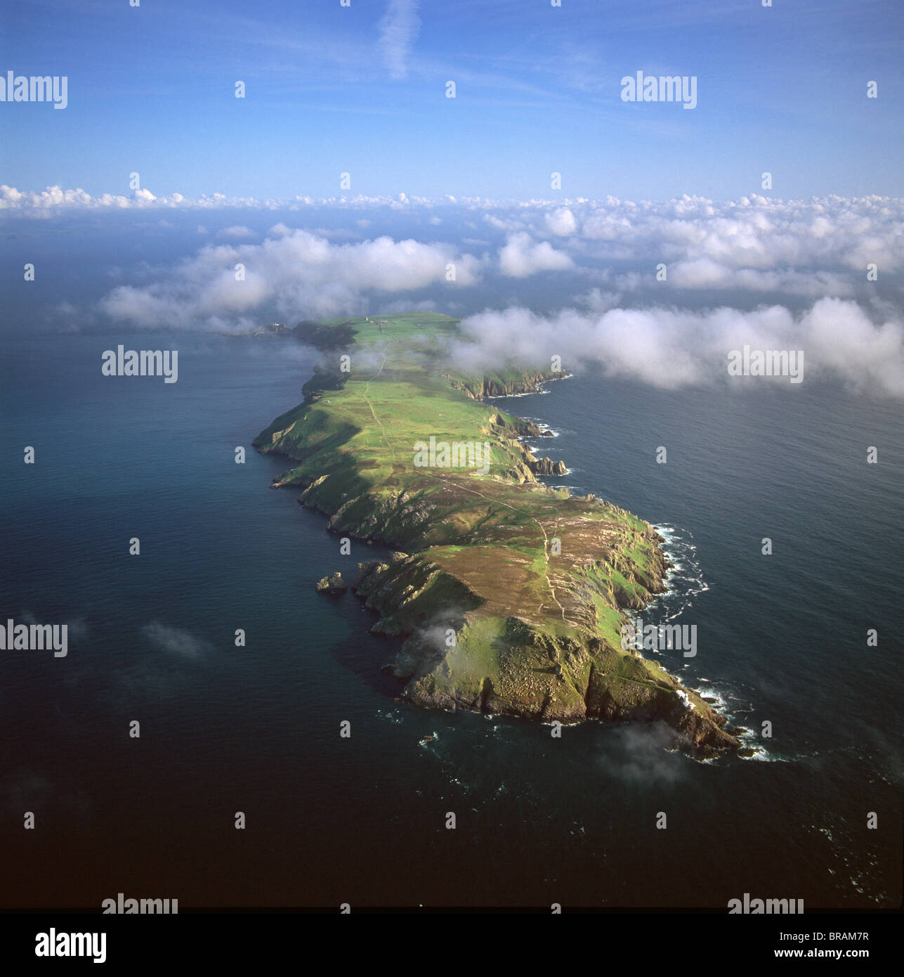 Aerial image of Lundy Island looking from north to south, Bristol Channel, Devon, England, United Kingdom, Europe - Stock Image