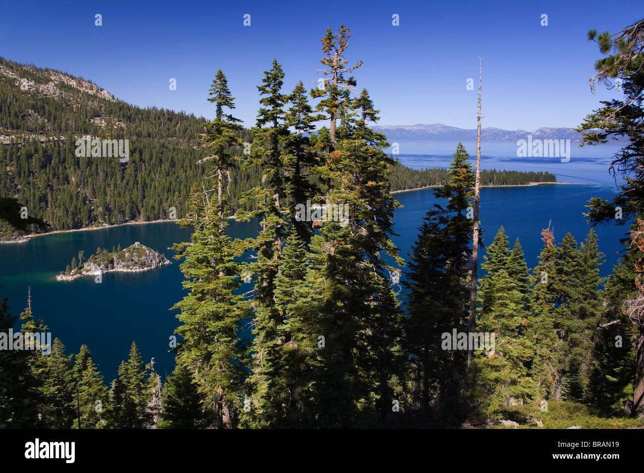 Fannette Island in Emerald Bay State Park, Lake Tahoe, California, United States of America, North America - Stock Image