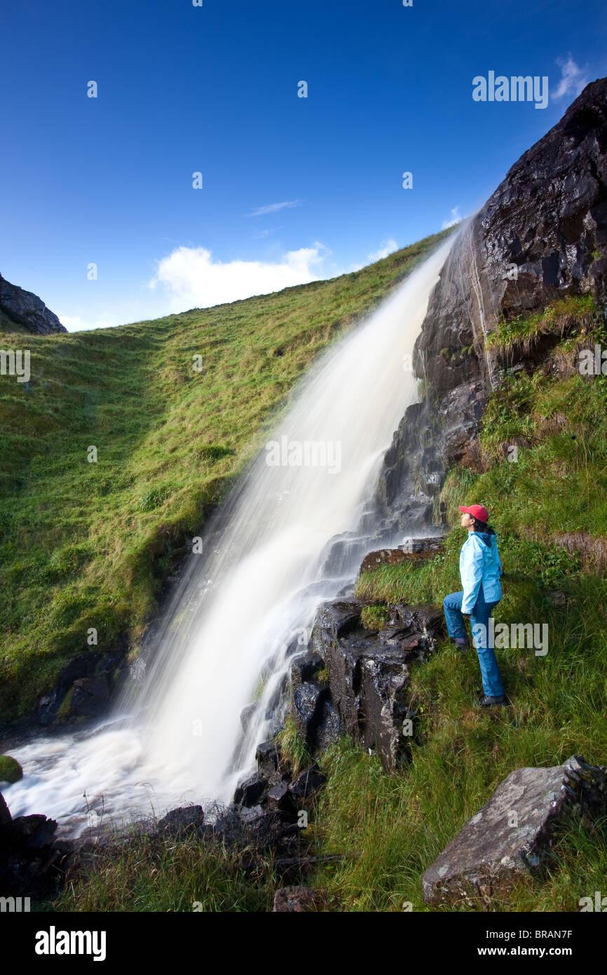 Waterfalls at the island Runde in Herøy kommune, Møre og Romsdal fylke, on the west coast of Norway. - Stock Image