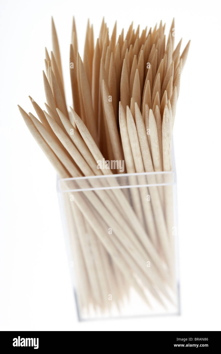 box of wooden toothpicks on white background - Stock Image
