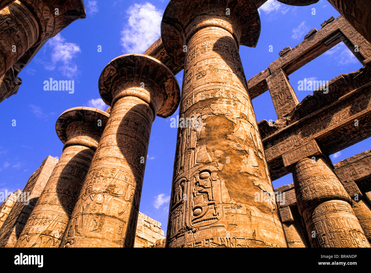 Ancient ruins of kings at the Temple of Karnak in Luxor Egypt Stock Photo