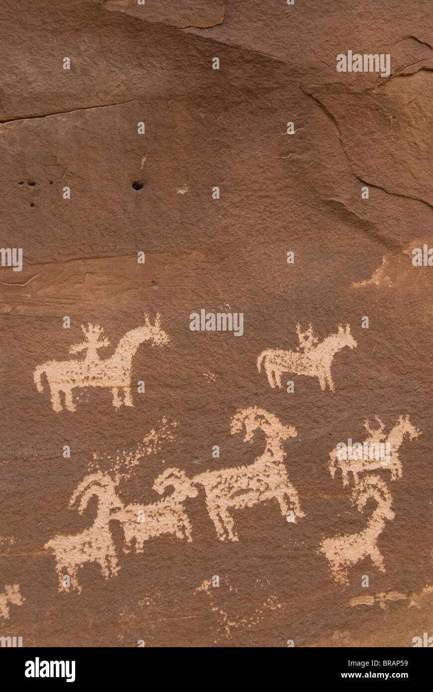 Ute Rock Art (petroglyphs), near Wolfe Ranch, Arches National Park, Utah, United States of America, North America - Stock Image