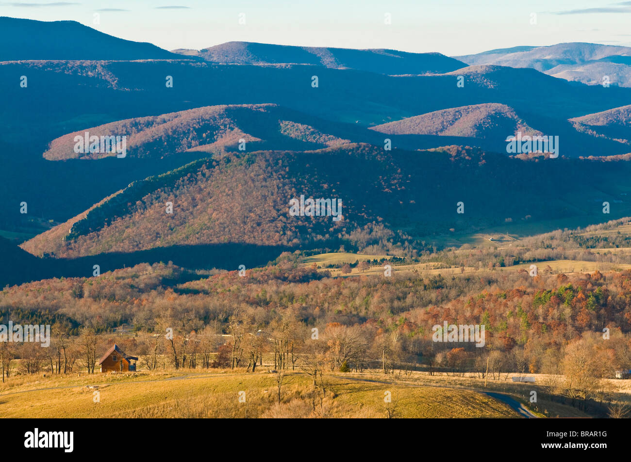 Beautiful foliage in the Indian summer, Allegheny Mountains, West Virginia, United States of America, North America - Stock Image