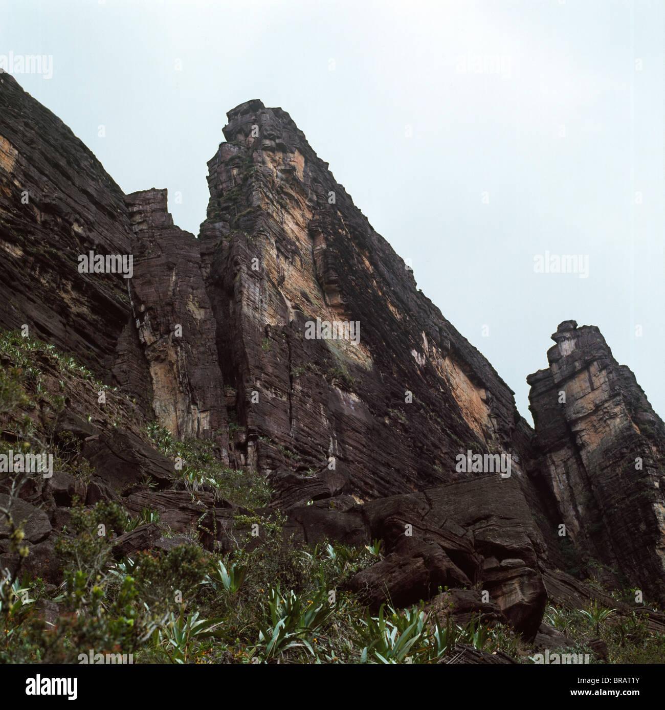 Ascent point showing the Chessman, Mount Kukenaam (Kukenan) (Cuguenan), Estado Bolivar, Venezuela, South America - Stock Image