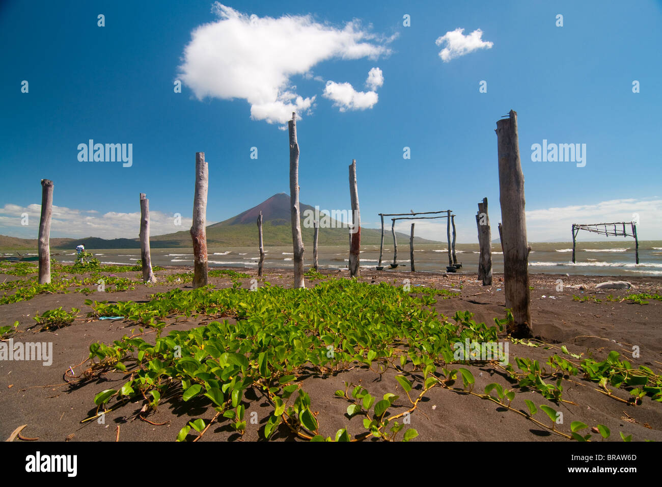 Photo of the volcano Momotombo. View from the lake of Managua - Stock Image