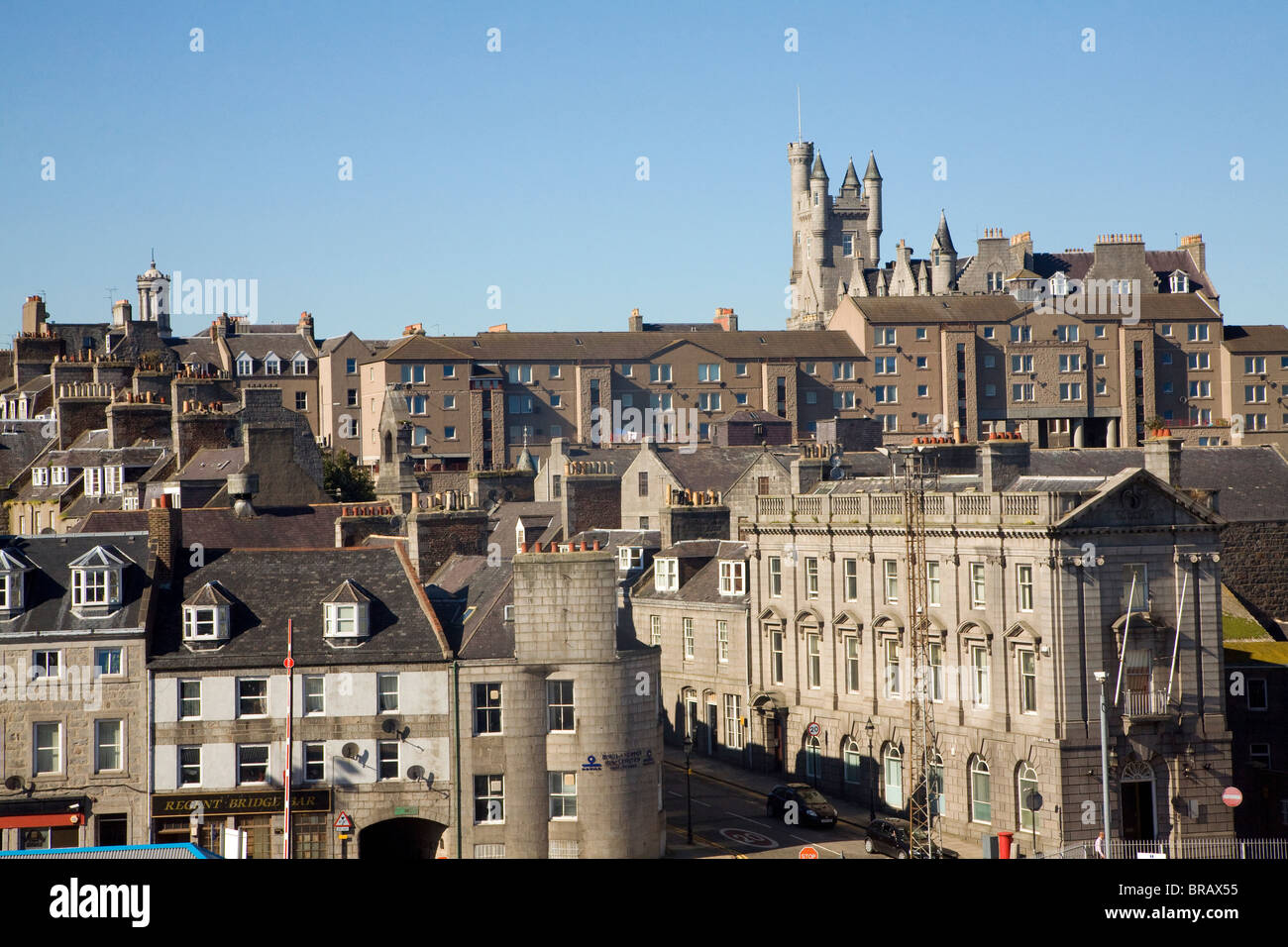 View from docks over central buildings Aberdeen, Scotland - Stock Image