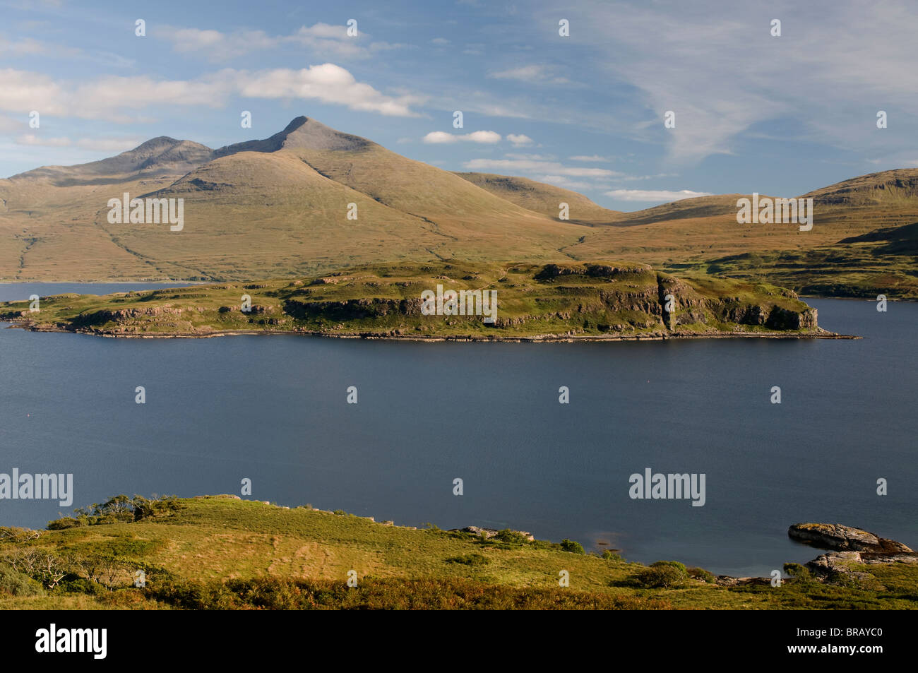 The uninhabited Island of Eorsa in Loch na Keal Mull with Ben More 967m towering beyond. Scotland.  SCO 6693 - Stock Image