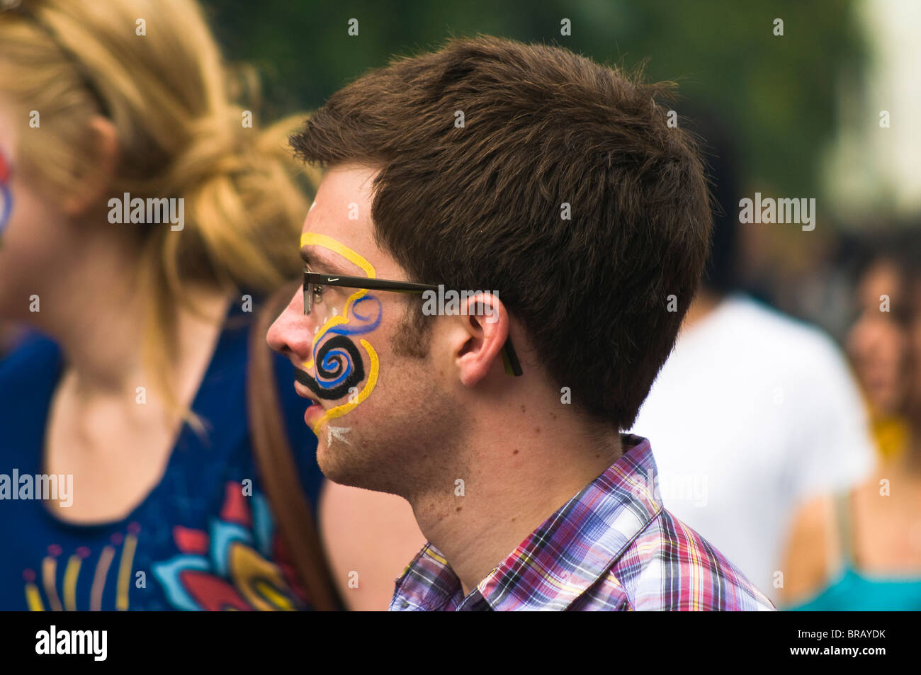 A reveller with face paint at the 2009 Notting Hill Carnival - Stock Image