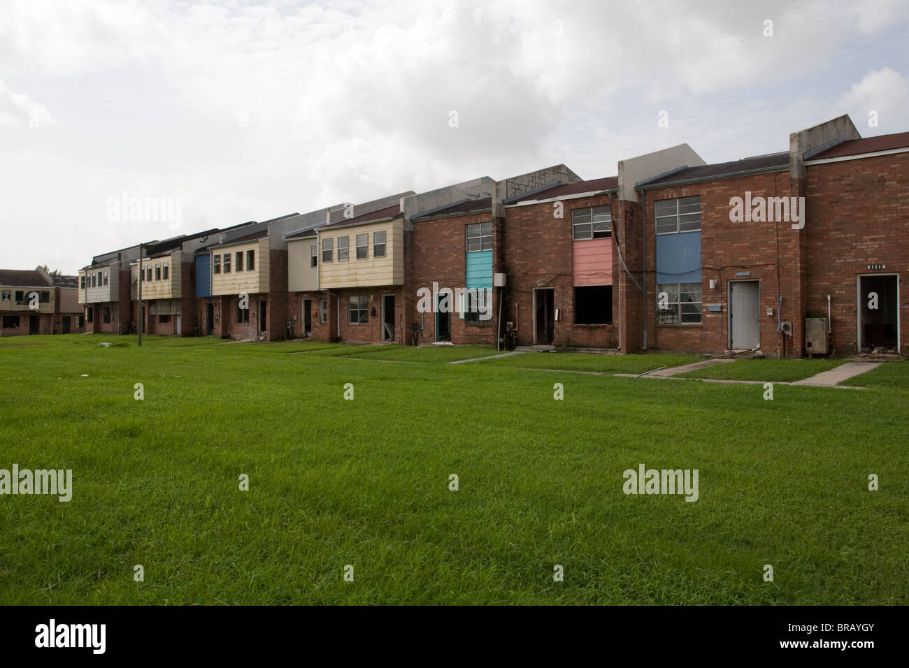 Blighted housing in New Orlean's Ninth Ward neighborhood has changed little since Hurricane Katrina. - Stock Image