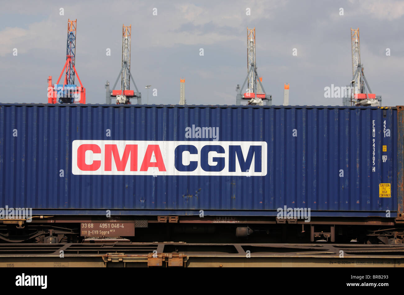 CMA CGM Container on a freight train at Burchardkai in Hamburg - Stock Image