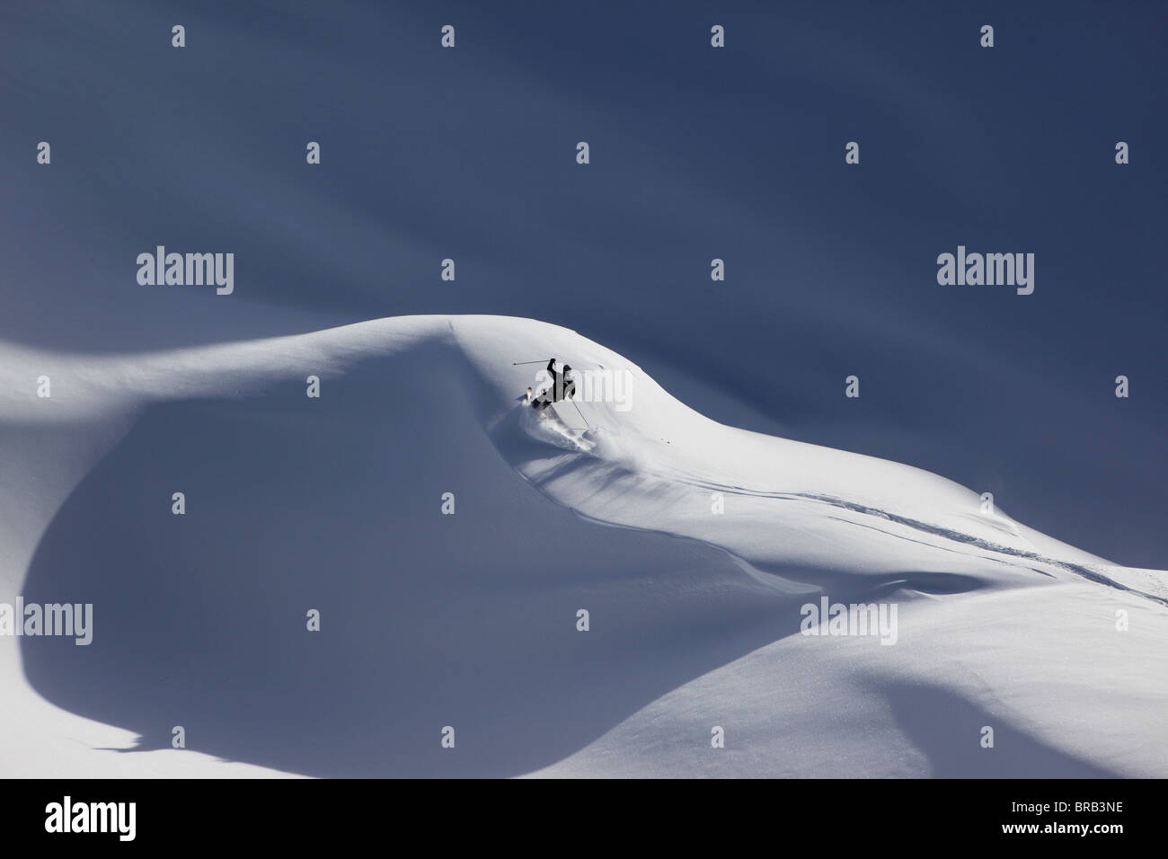 A skier turns his skis through powder on a Val Gardena off piste slope - Stock Image