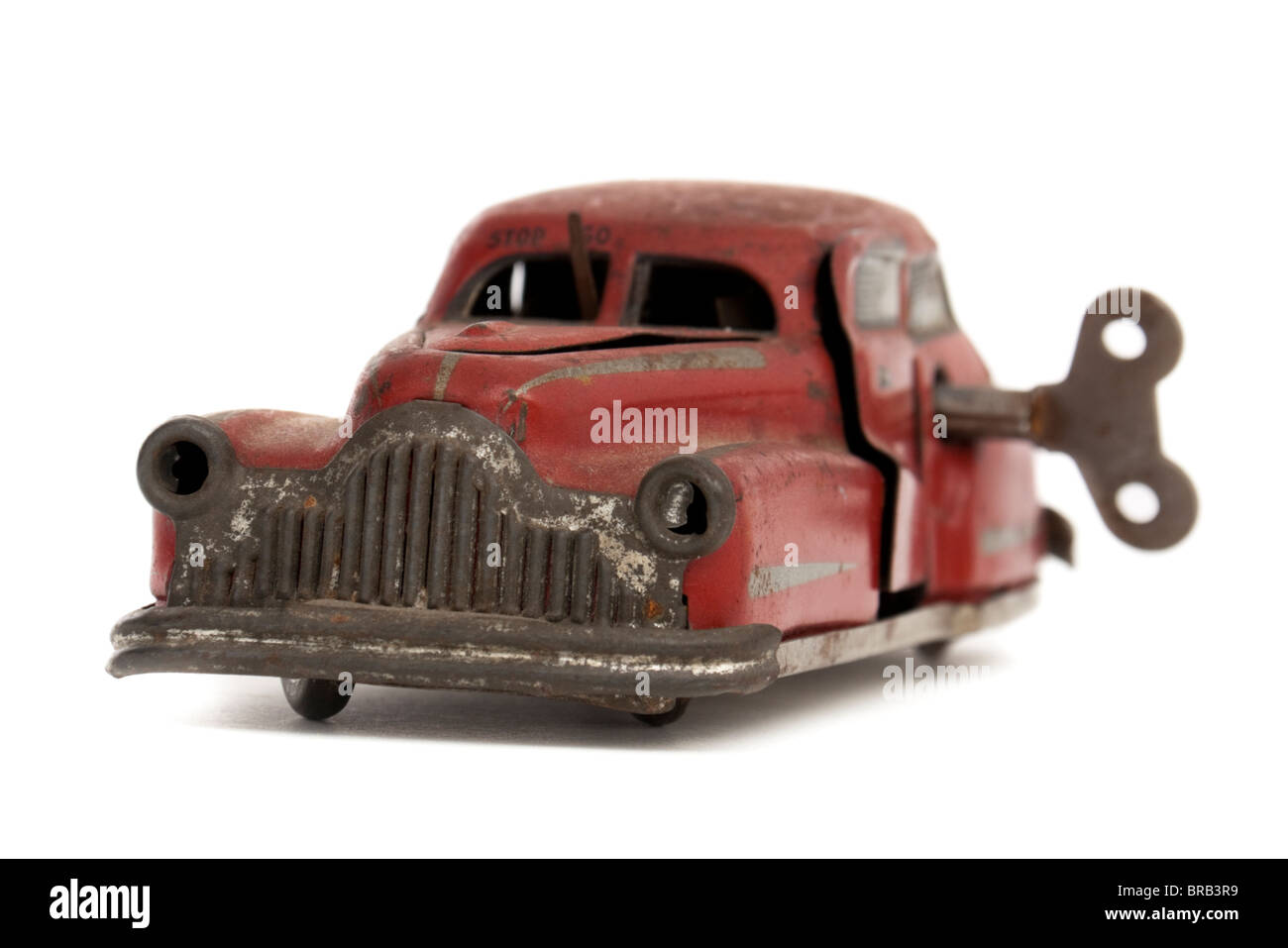 Vintage 1950's French tinplate clockwork toy car by Joustra - Stock Image