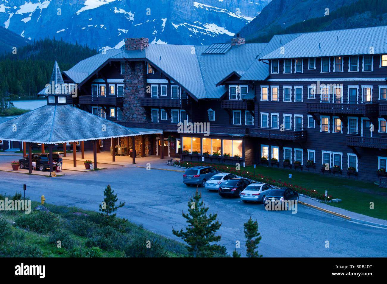 Many Glaciers Hotel at dusk, Glacier National Park, Montana. Stock Photo