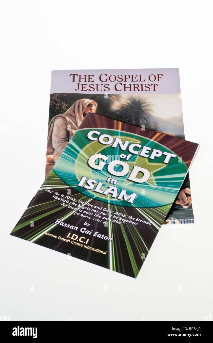 Two religious bookets - 'The Gospel of Jesus Christ' and 'Concept of God in Islam' - Stock Image