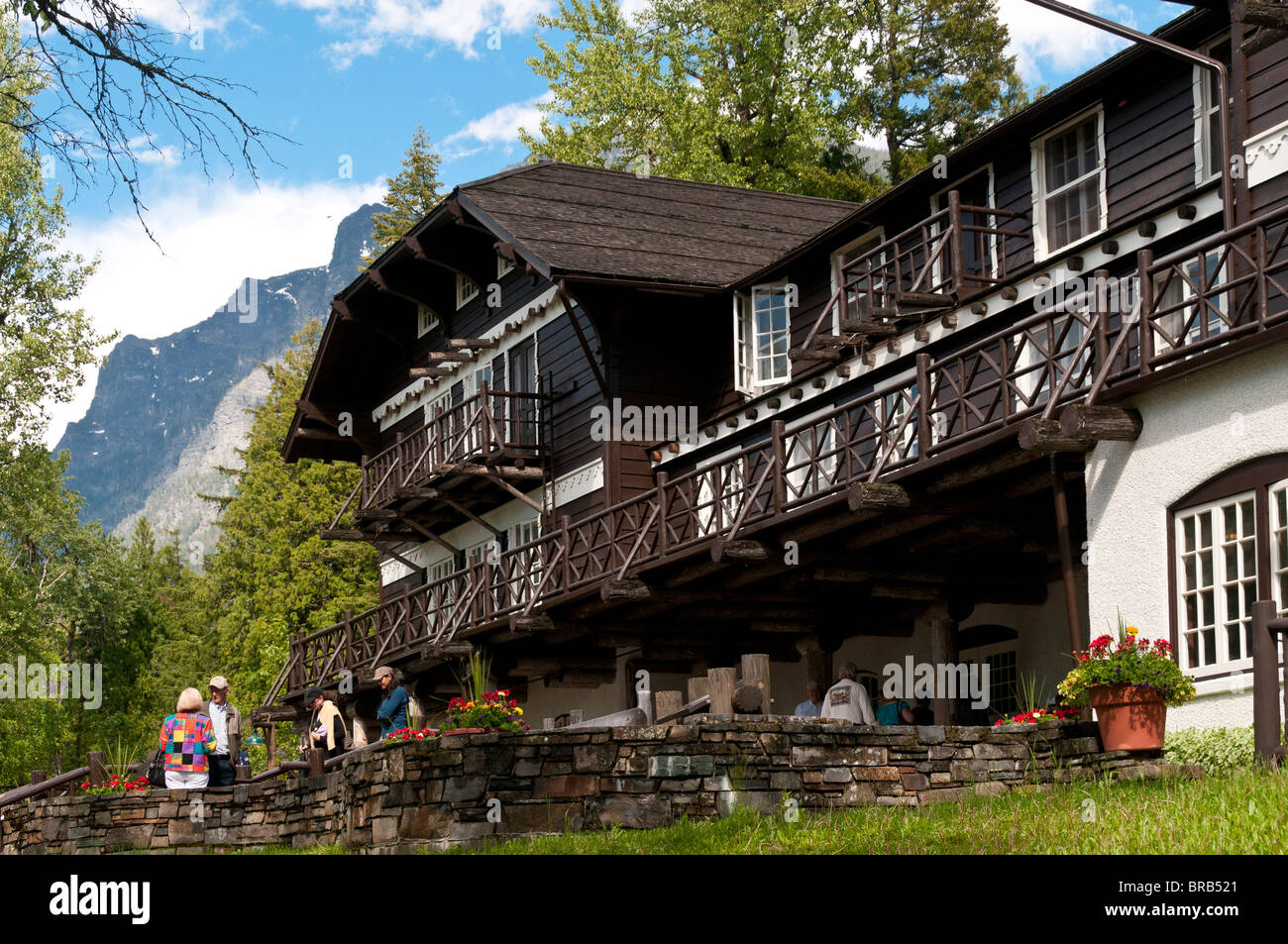 Lake facing front, Lake McDonald Lodge, Glacier National Park, Montana. Stock Photo