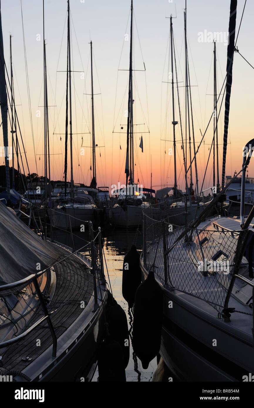 Sailing boats in Marina at sunset - Stock Image