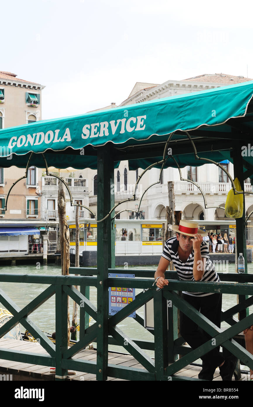 Young handsome Gondolier in Venice Italy - Stock Image