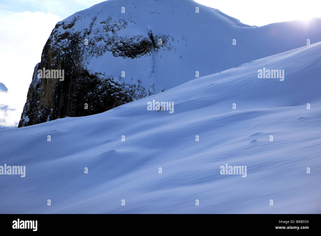 A solo skier enjoys powder snow on a Val Gardena off piste slope - Stock Image