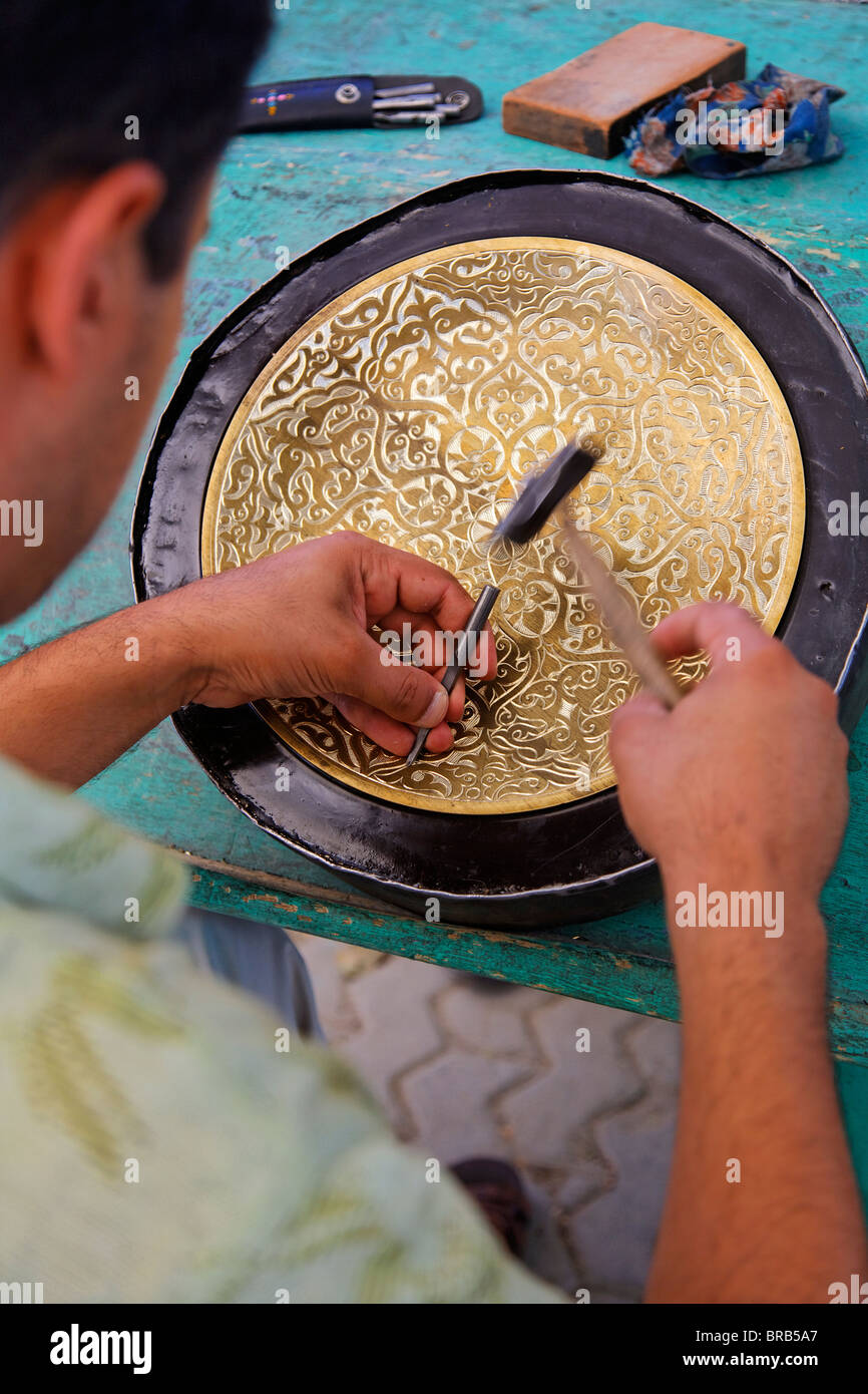 Demonstration of metal engraving, Bukhara, Uzbekistan - Stock Image