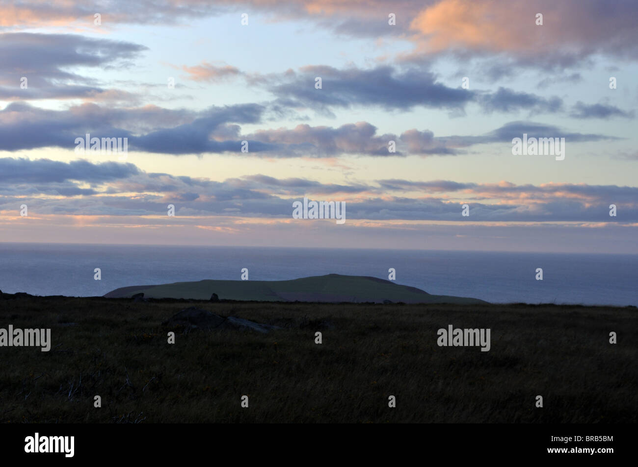 View of Dinas Head and Cardigan Bay from Carningli common, Newport, Pembrokeshire, Wales, United Kingdom - Stock Image