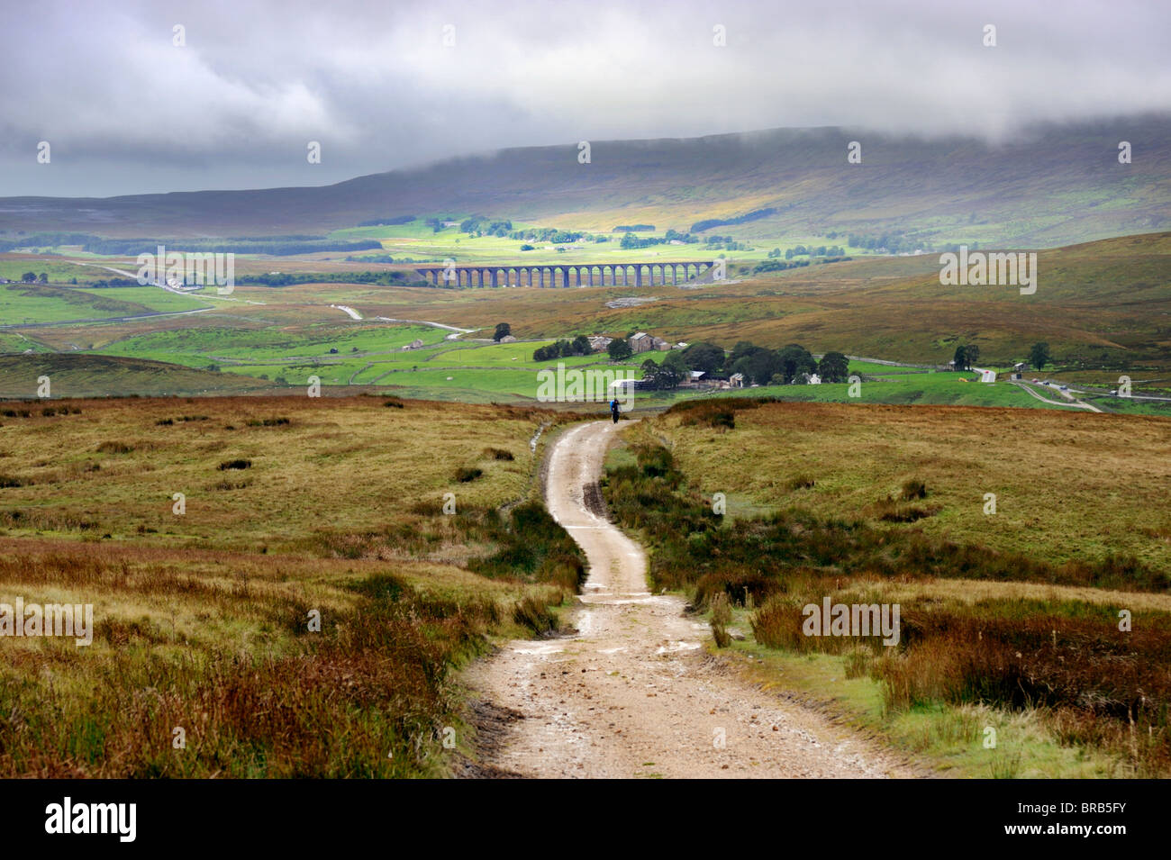 View of Ribblehead Railway Viaduct and Whernside from Cam Fell, North Yorkshire - Stock Image