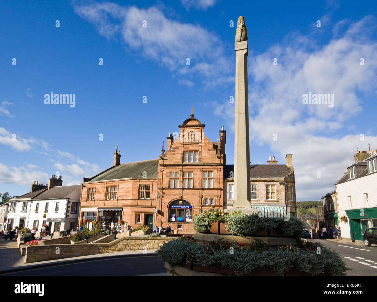 Melrose Market Square Borders Scotland - Stock Image