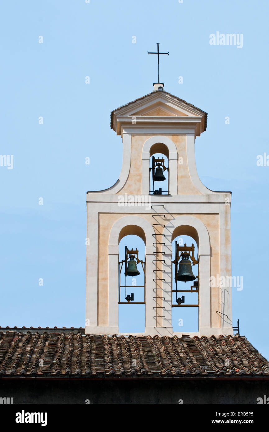 Ornate 3 bell tower setup, Rome Italy - Stock Image