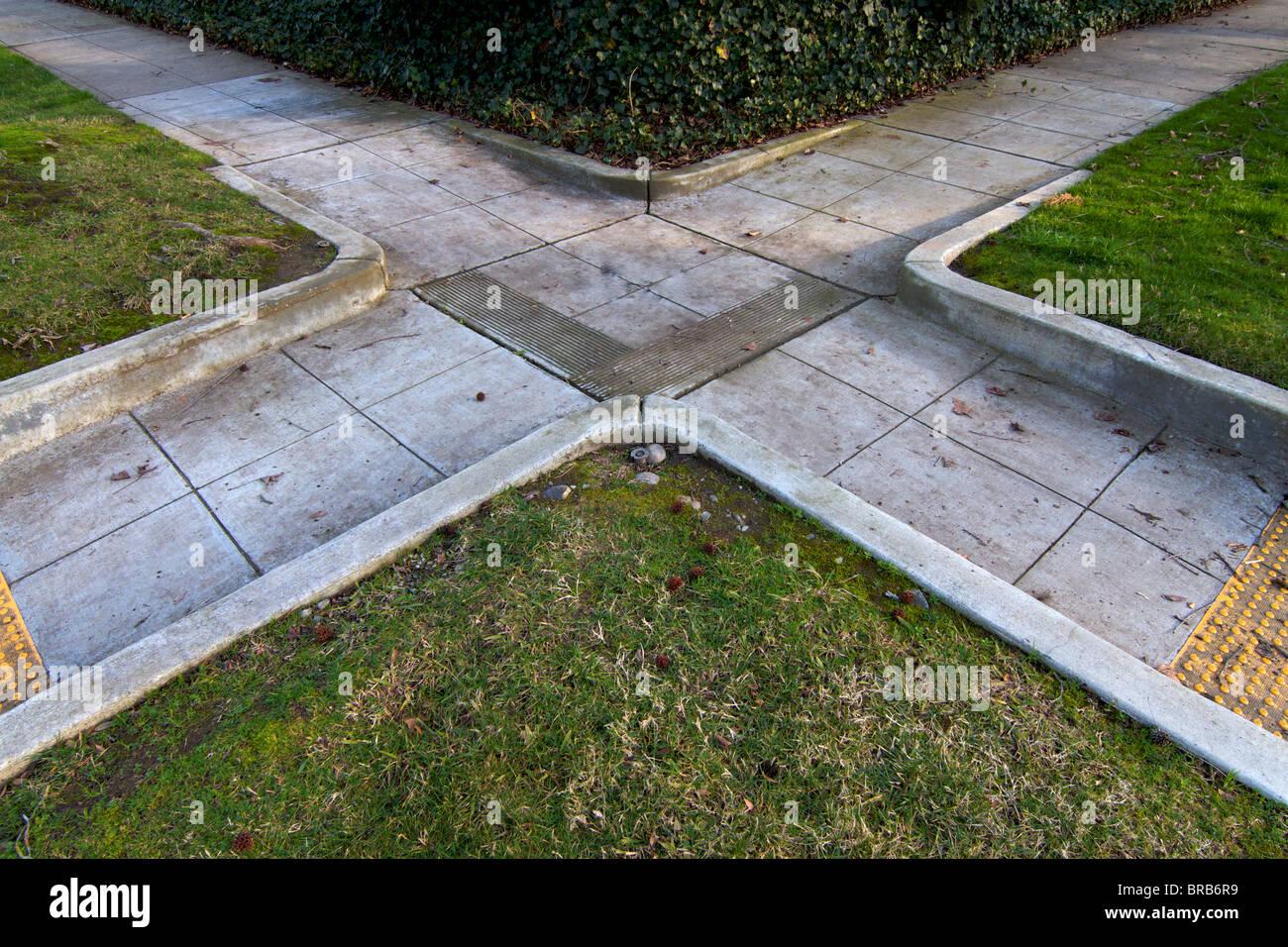 Residential Neighborhood Concrete Sidewalk Crossing Like A