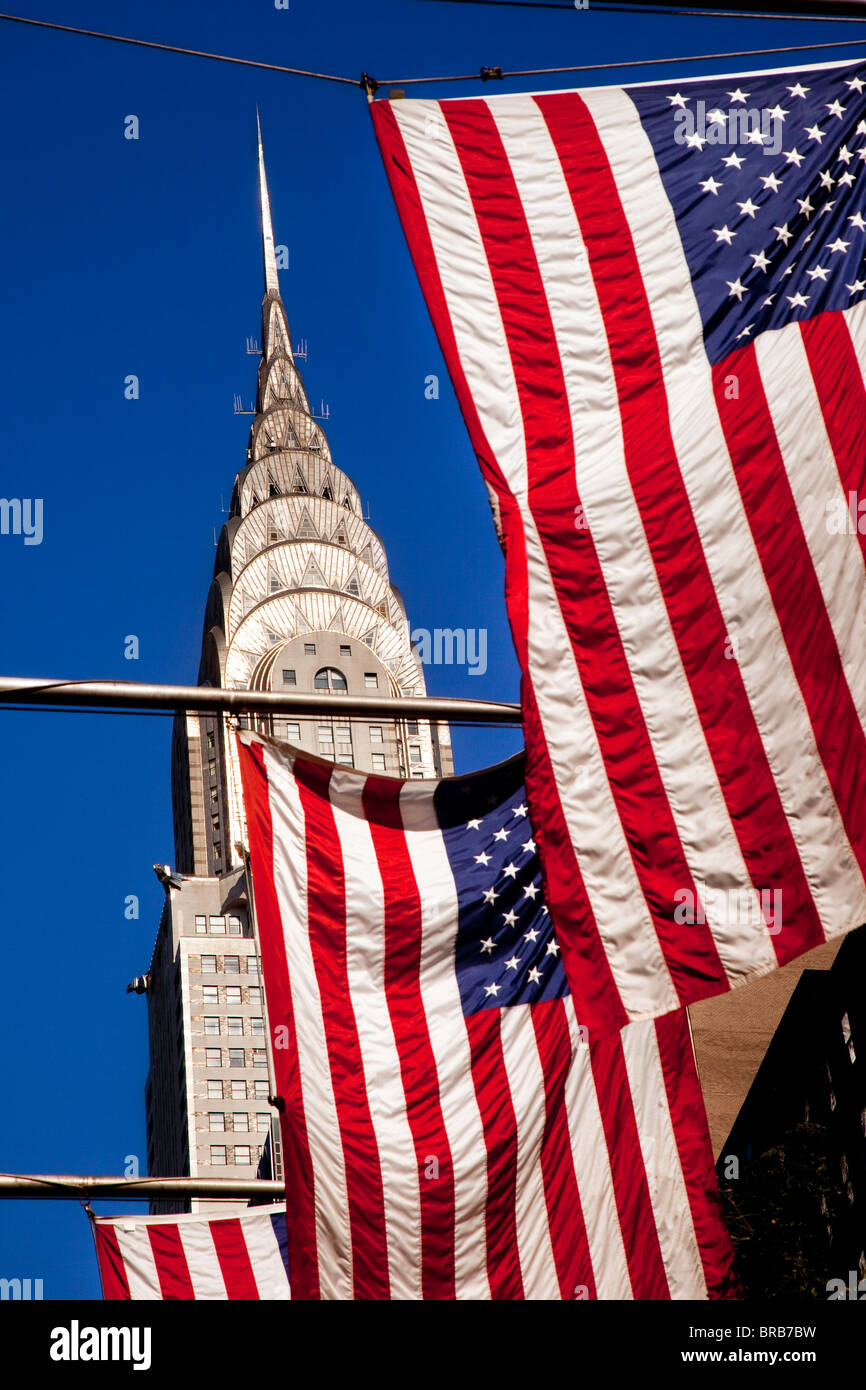 American Flags along 42nd Street below the Chrysler Building in Midtown Manhattan, New York City USA - Stock Image