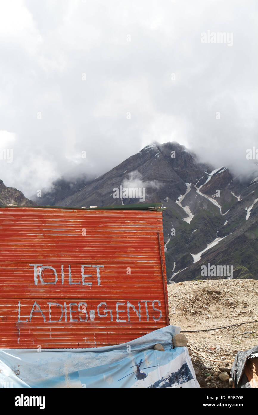 toilets on the road to keylong - Stock Image