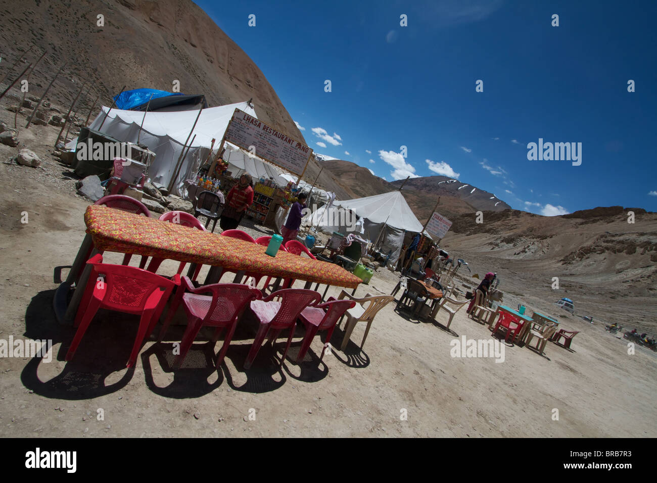 food shops on the road to leh - Stock Image