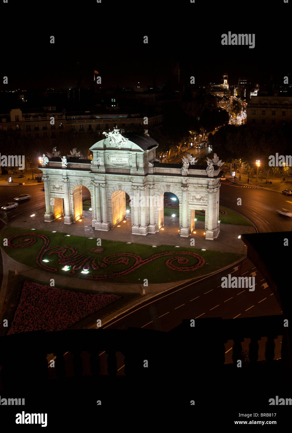 Alcala gate Madrid Spain turism monument old culture architecture puerta vertical - Stock Image