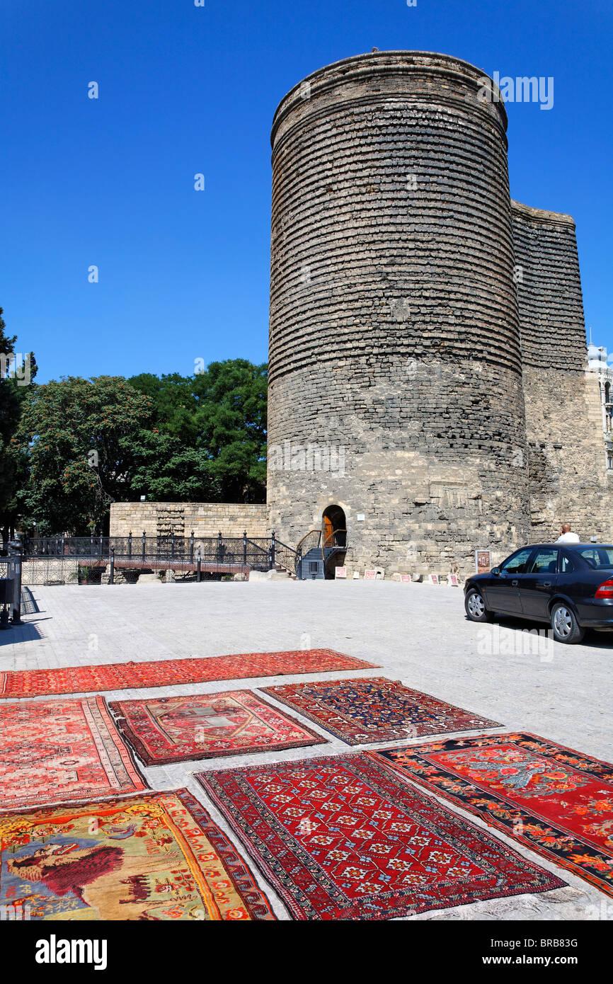Maiden's Tower in Baku Old Town, Baku, Azerbaijan Stock Photo