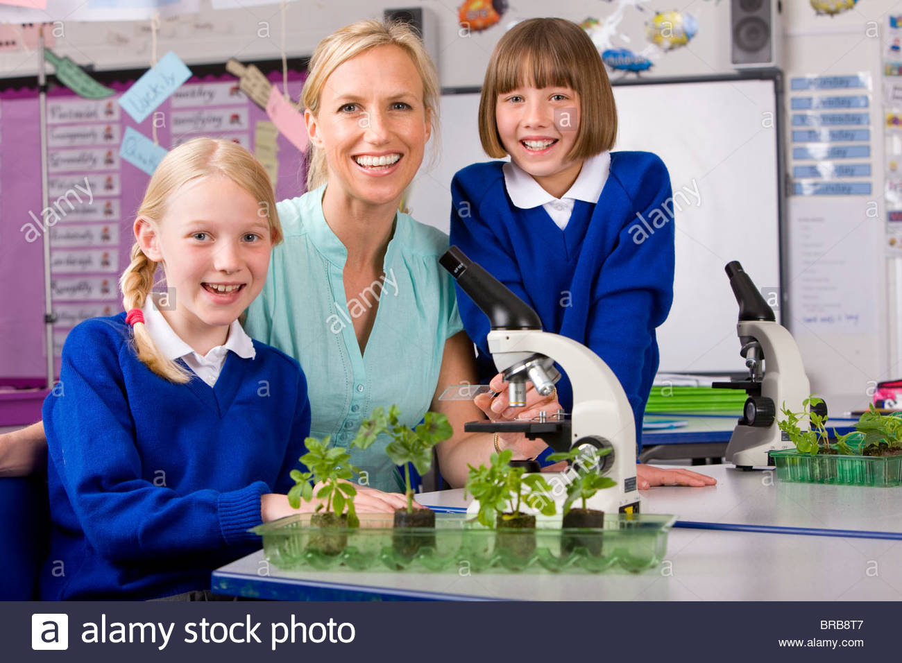 School children and teacher working with microscope in classroom laboratory - Stock Image