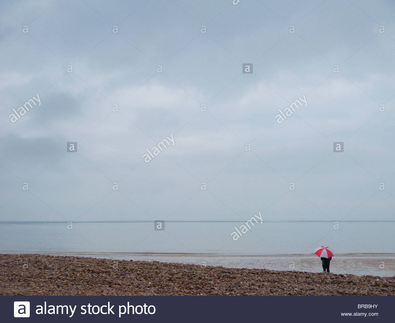 Woman standing with umbrella on tranquil rocky beach looking at ocean - Stock Image