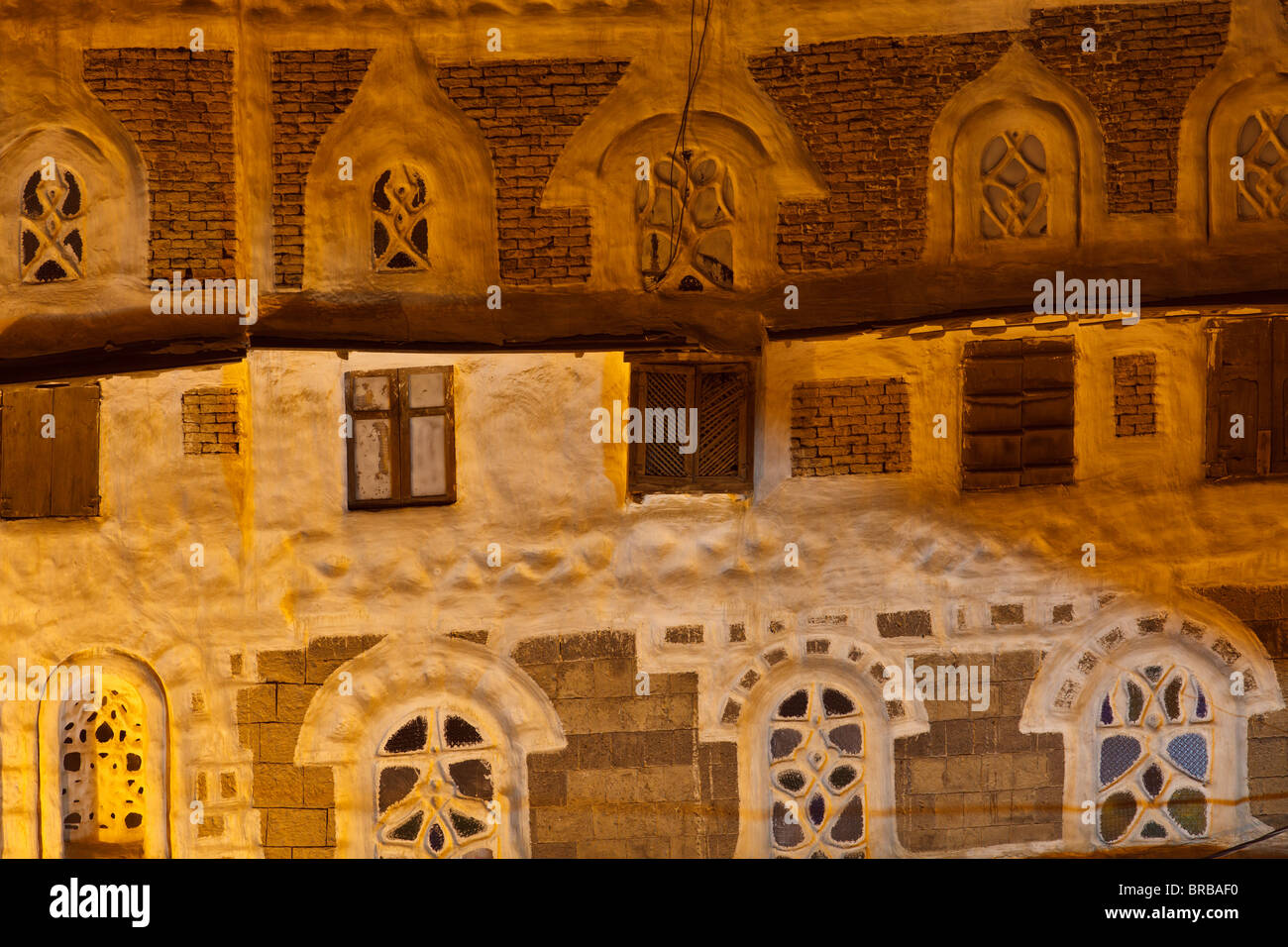 Detail of building in Old City of Sana'a, Yemen Stock Photo